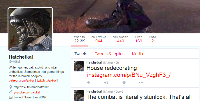 Axikal has 22,300 tweets, yet only 169 likes, basically talks to himself on twitter all day.PNG