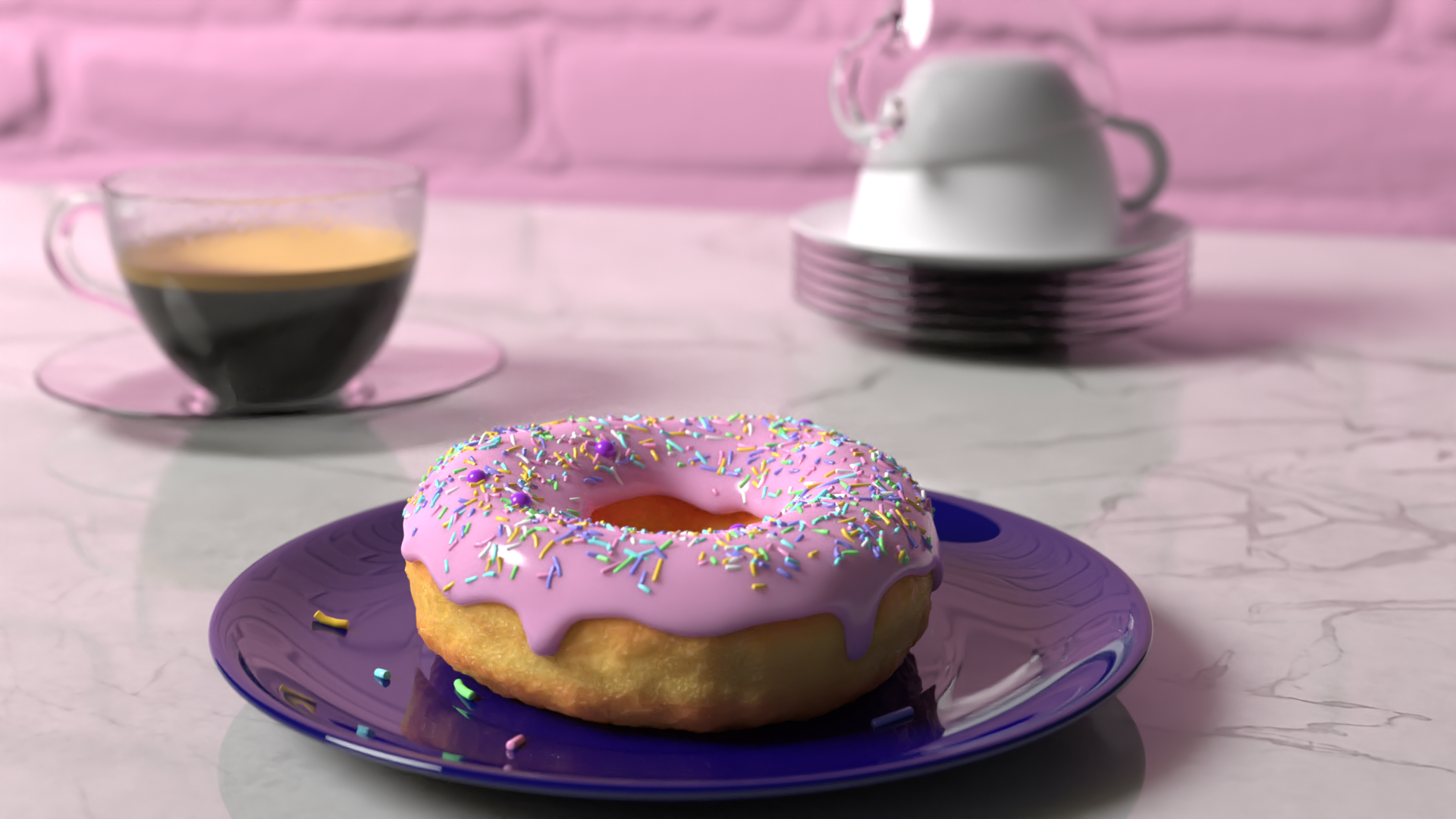 Final render (Coffee, cups, donuts, plates) cycles.png