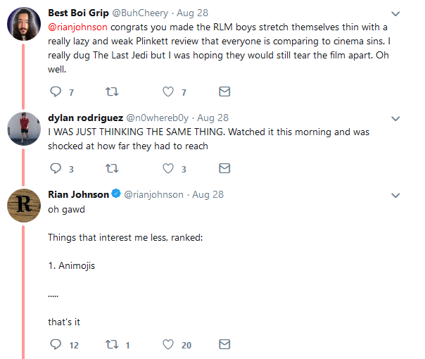 Rian Johnson Red Letter Media.Star Wars Griefing Thread Formerly About Last Jedi Kiwi