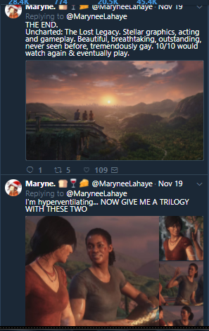 she has twenty tweets about uncharted i had to go through this to get to drama wtf.png