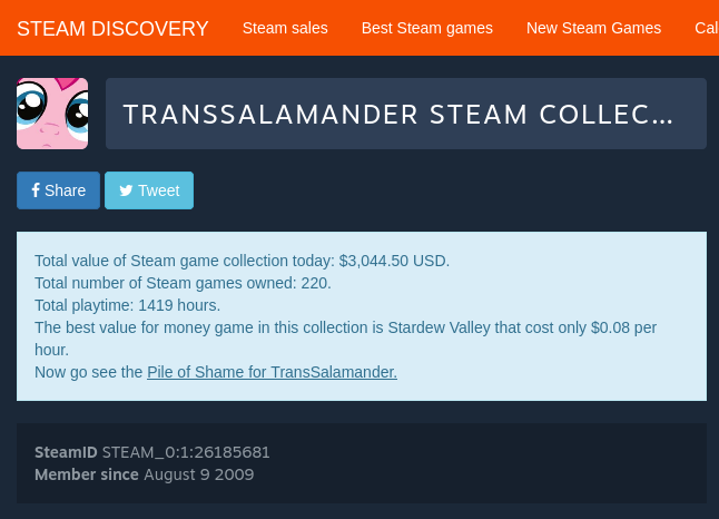TransSalamander Steam collection value.png